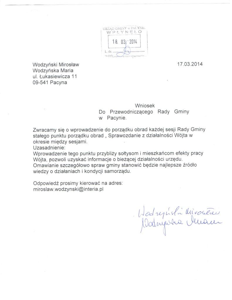 wniosek sprawozdanie z działal .wójta 001