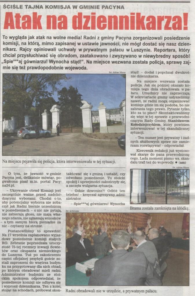 atak na dziennikarza lokalna