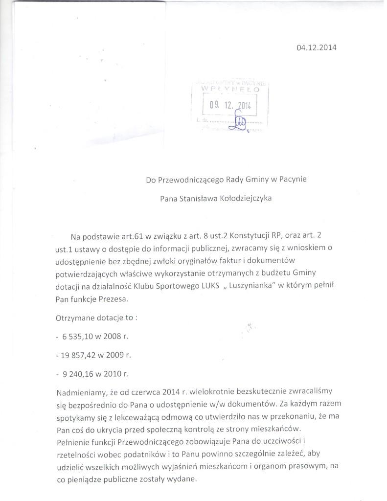 Luszynianka 04.12.2014 wniosek 1