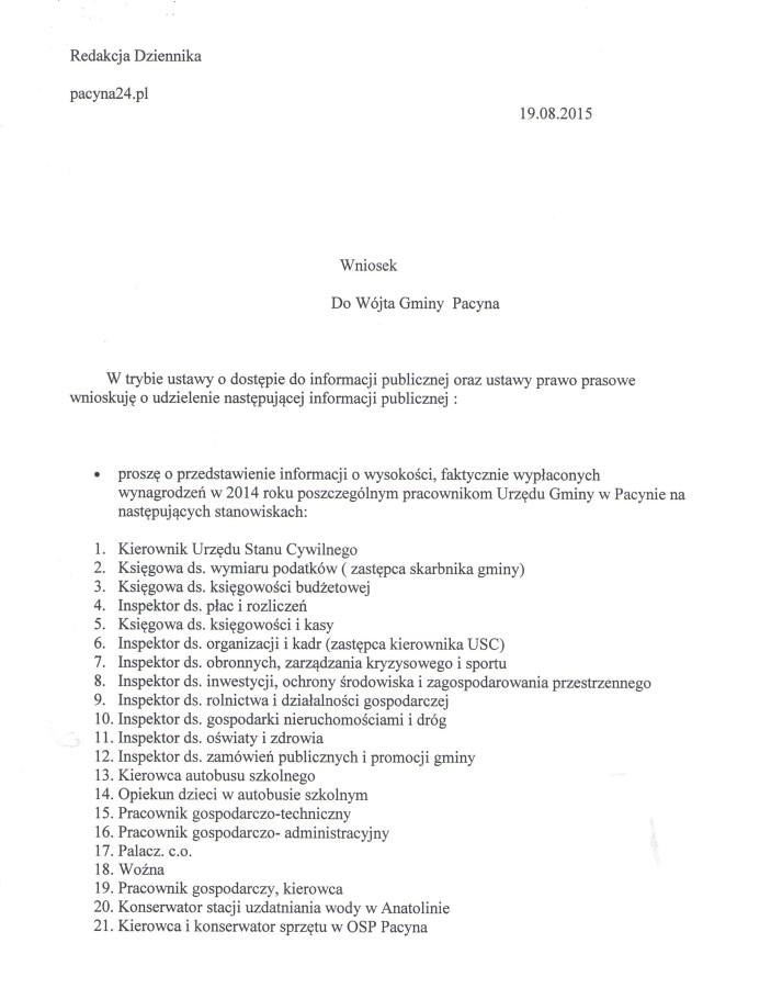 wniosek redakcji o wynagr. pracow.U.G.