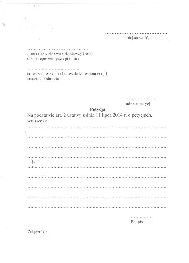 petycja -wzór