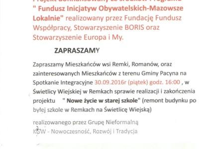 """Promocja projektu """" Nowe życie w starej szkole"""" realizowanego przez Grupę Nieformalną KGW – Nowoczesność, Rozwój i Tradycja . Zaproszenie"""