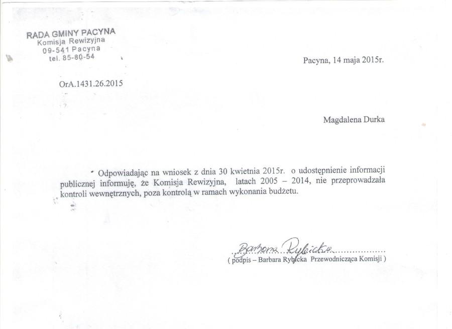 komisja rewizyjna pismo 1