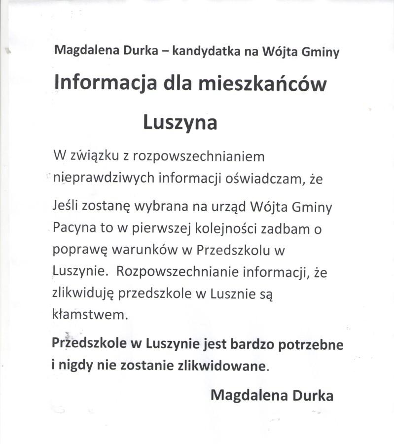 Informacja dla mieszkańców Luszyna !