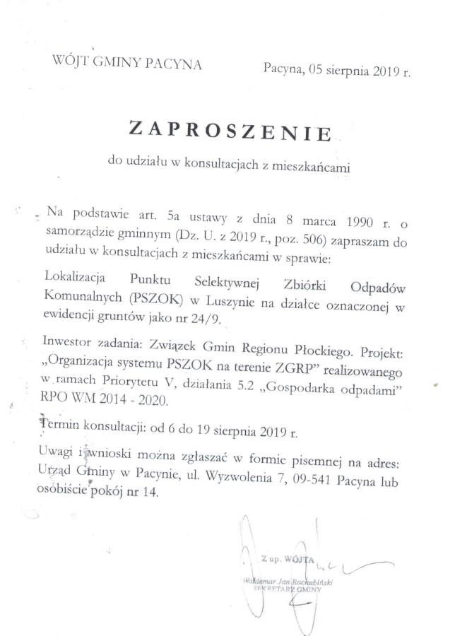pszok Luszyn ogł. o konsultacjach